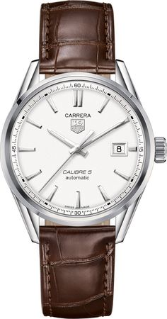 TAG Heuer Watch Carrera Calibre 5 #bezel-fixed #bracelet-strap-alligator…