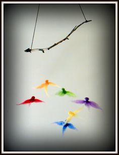 wool needle felted bird mobile Bird Mobile, Butterfly Mobile, Felt Mobile, Hanging Mobile, Origami Mobile, Paper Mobile, Wool Needle Felting, Wet Felting, Seashell Mobile