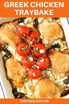 This super is Greek Chicken Traybake is filled with crispy baked chicken thighs, lemon potatoes, feta, olives and blistered tomatoes. Great for a weeknight dinner - just set it and it's ready in 1 hour. Lemon Chicken Thighs, Crispy Baked Chicken Thighs, Greek Chicken And Potatoes, Greek Lemon Chicken, Kebabs, Greek Spinach Pie, Tray Bake Recipes, Lemon Potatoes, Curry