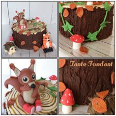 Stump cake, fondant squirrel, hedgehog, fox, autumn Boomstronk taart