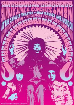 Jimi HENDRIX - Procol Harum - The Chiffons  - 4 June 1967 - London Uk - live show artistic concert poster  - manifesto artistico. €10,00, via Etsy.