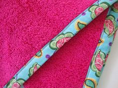 HOT PINK Hair Towel with Paisley Fabric Trim  by TheTamedTowel