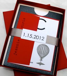 Old World Charmer- Red, Gray, & Black Pocket Wedding Invitation Suite: Beacon Lane- Sample #stationery $7.25 for sample