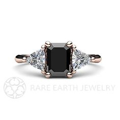 14K Black Diamond Engagement Ring 3 Stone Vintage by RareEarth, $2129.00