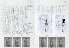 Fashion Portfolio - fashion design drawings, draping experiments & design development; fashion sketchbook