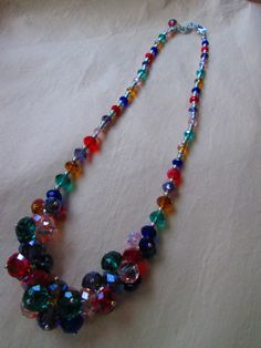 Vintage Multi Austrian Crystal Necklace 1970s by truthorwear, $65.00