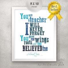 Teacher Appreciation Print / End of Year Teacher Gift Ideas / Thank You Typography / Personalized / Roots Wings Believe // 8x10