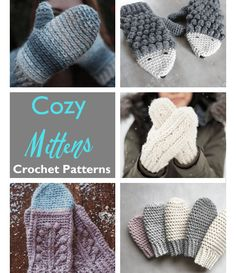 Baby Crochet Mittens Crochet Patterns – Great Cozy Gift - A More Crafty Life Crochet Mittens Pattern, Crochet Gloves, Hand Crochet, Crochet Baby, Knitting Patterns, Crocheted Hats, Crochet Storage, Crochet Hooks, Fingerless Mittens