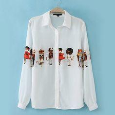 Adorable Print Polo Collar Long Sleeve White Chiffon . got it on sale!