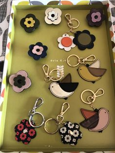 Orla Kiely Flower Petal Attachment & Keyrings Orla Kiely, Flower Petals, Printmaking, Bag Accessories, Personalized Items, My Style, Illustration, Plants, Bags