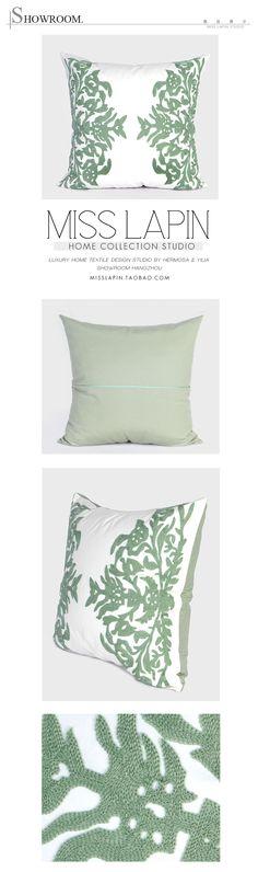 法式浪漫/样板房家居软装/沙发靠包抱枕/绿色浪漫花纹绣花方枕-淘宝网