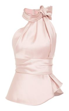 This **Brandon Maxwell** Halter Satin Scarf Top features a high scarf tie neck with a cinched waist. Look Fashion, Fashion Clothes, Fashion Dresses, Head Scarf Tying, Scarf Top, Mein Style, Satin Top, Pink Satin, Bustier