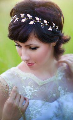 gold leaf headband, wedding tiara, bridal hair accessories