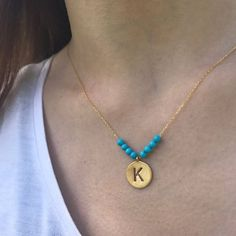 Personalized Initial Necklace Turquoise Necklace Dainty