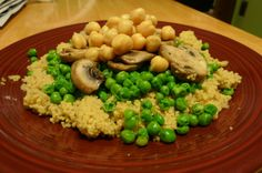 #WalmartGiving #NoKidHungry Mushroom Couscous 2 box pine nut couscous, $2 on sale this week 10 oz sliced mushroom, $2.50 2 bag frozen pea, $2 on sale this week 15 oz chickpea, $1 ~1 Tbsp oil uncalculated 4 dinner, ~$7.50 Oil in lg pot over med, stir in mushrooms then sit a few min. Stir to brown & juices released, remove mushrooms, retain juice. Add water & spices as box directs. Warm peas in microwave or pot, warm chickpeas alone or after couscous finished. Toss or serve layered.