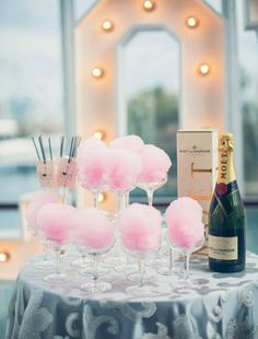 Bachelorette Parties 260294053446166071 - Move Over Candy Bars, These Cotton Candy Ideas Are The Next Big Thing Source by FabriqueFlower Cotton Candy Champagne, Champagne Party, Cotton Candy Wedding, Cotton Candy Drinks, Cotton Candy Party, Candy Bar Party, Candy Bar Wedding, Pink Cotton Candy, Party Wedding