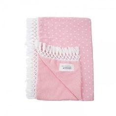 Πετσέτα ρόζ με ρόζ υφασμα και λευκό αστεράκι και λευκή φούντα Beach, Towels, Bed Covers, Dress Shirt, The Beach, Beaches