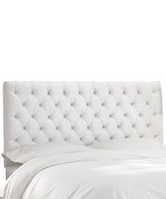 Another great find on #zulily! White Velvet Upholstered Headboard #zulilyfinds