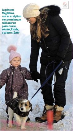 Madeline, Estelle, & puppy Zorro during their Ski holiday in Italy, December 2013