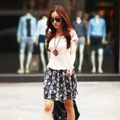 J42978 Chiffon splicing skirt hem short sleeve dress white