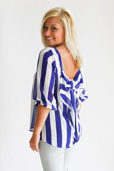 striped bow back top
