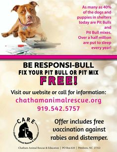 Have you heard about CARE's FREE spay/neuter offer for pit bulls and pit mixes? Help decrease the number of unwanted pitties in the shelter by fixing your pit or pit mix for FREE today! www.chathamanimalrescue.org