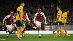 Alexandre Lacazette of Arsenal celebrates after scoring during the UEFA Europa League Semi Final leg one match between Arsenal FC and Atletico Madrid at Emirates Stadium on April 2018 in London, United Kingdom. Arsenal Fc, International Champions Cup, Semi Final, Europa League, Scores, London United, April 26, Madrid, Arsenal F.c.