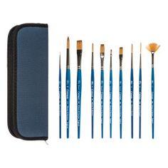 Trousse de pinceaux pour aquarelle bleu 9 x 25 x 2,5 cm