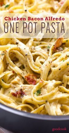 One Pot Bacon Chicken Pasta. Quick, Delicious Dinner, made in minutes!