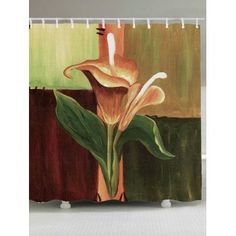Oil Painting Flower Home Decor Tapestry Cheap Shower Curtains, Floral Shower Curtains, Bathroom Curtains, Cheap Bathroom Accessories, Jewelry Accessories, Calla Lily Flowers, Curtain Material, Oil Painting Flowers, Painting Art