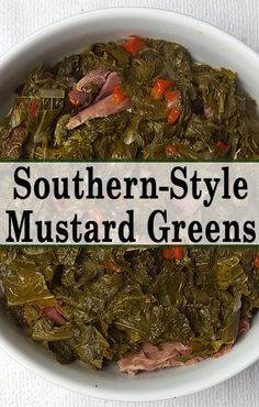 Southern-Style Mustard Greens Greens go great with hot sauce and the broth can be used as a soup base. The post Southern-Style Mustard Greens & Eten appeared first on Oxtail recipes . Onion Soup Recipes, Bacon Recipes, Vegetable Recipes, Cooking Recipes, Mixed Greens Recipe, Canned Mustard Greens Recipe, Cooking Mustard Greens, Kitchens, Vegetarian Meals