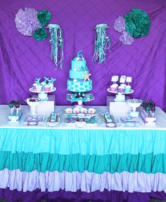 Tessa's Ariel Inspired Birthday Party ariel birthday Little Mermaid Mermaid birthday party girls first birthday party party decorations printables Little Mermaid Birthday, Little Mermaid Parties, The Little Mermaid, Purple Birthday, Party Fiesta, Aqua Party, Party Party, Personalised Cupcakes, 4th Birthday Parties