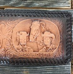 Leather Roy Rogers Embossed Bi-Fold Bilfold with Bill Divider and Card Holder in Commemorative Cedar Box Cedar Box, Dale Evans, Picture Holders, New West, Roy Rogers, Happy Trails, Emboss, Initials, Divider