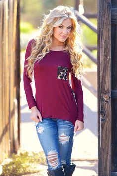 """Mischievous Little Leopard Top - Wine from Closet Candy Boutique Get your's! Use promo code """"repjennifer"""" for 10% off and FREE shipping!"""