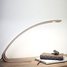 Touch the beautiful timber surface to activate the warm LED light. Tribe Design - Yaungo Cheng - L desk wooden lamp
