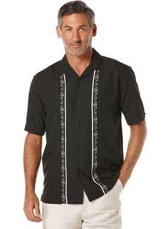 Resultado de imagen para Short Sleeve Camp Collar Shirt with Ornamental…