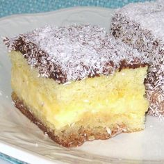 Croatian Lamingtons Recipe - Cupavci: Croatian Lamington or Cupavci Eastern European Recipes Albanian Recipes, Bosnian Recipes, Croatian Recipes, Hungarian Recipes, Dessert Cake Recipes, Just Desserts, Delicious Desserts, Dessert Bread, Food Network