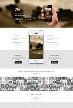 Freebie: Flow – Mobile App Landing Page Template (PSD). Personnel icon spread at the bottom.