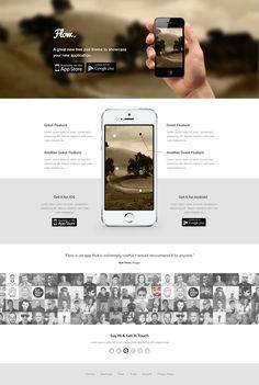 Freebie: Flow – Mobile App Landing Page Template (PSD)
