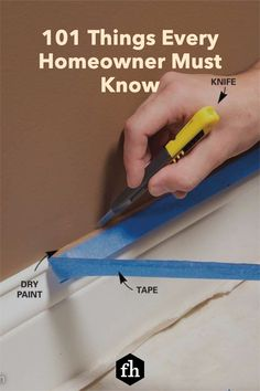 Being a homeowner has its challenges, but being a knowledgeable DIYer can make things a lot easier. Check out this incredible list of things you need to know. Tape Painting, House Painting, Diy Painting, Wire Shelving, Paint Furniture, Wet And Dry, Easy Paintings, Need To Know, Knowledge