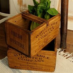 Wooden Storage Box Enscribed With Oysters adf39871260