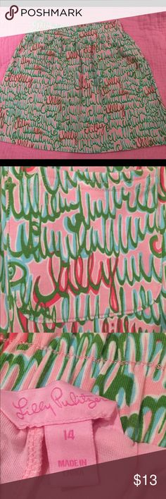 """🌷🌷Lilly Pulitzer skirt-size 14 🎀Cotton stretch fabric skirt with """"Lilly"""" cursive writing print.  Shorts attached underneath skirt. Runs larger.  Excellent condition/barely worn. Lilly Pulitzer Bottoms Skirts"""