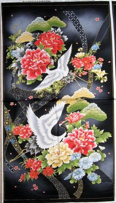 Akahana - Cranes in Spring from the 'Akahana' collection by Red Rooster Fabrics. Japanese Textiles, Japanese Patterns, Japanese Prints, Japanese Fabric, Japanese Art, Japanese Crane, Japanese Painting, Chinese Painting, Chinese Art