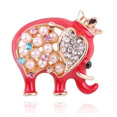 Charm Lovely Gold Plated Crystal Rhinestone Pearl Animal Dog Elephant Brooch Pin