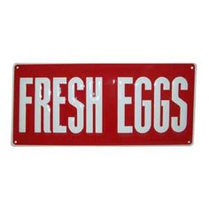 Small Fresh Eggs Tin Sign Red & White