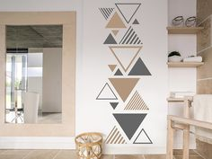 Modern triangles- Moderne Dreiecke Discover the Wall Decal Modern Triangles here. ❤ Top quality from Germany Diy Wand, Geometric Wall Paint, Modern Wall Paint, Wall Paint Patterns, Wall Painting Decor, Wall Painting For Bedroom, Diy Home Decor, Room Decor, Bedroom Wall Designs
