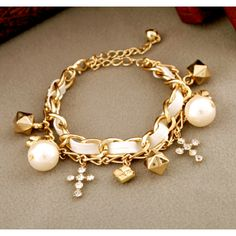Ethnic Dual Layer PU Alloying Chain Bracelet