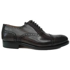 Zapato oxford con puntera picada en color gris de Cordwainer vista lateral