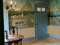 A Hunt Scene mural for a New Hampshire home - Canvasworks Designs American Interior, Equestrian Decor, Floor Cloth, Mural Painting, Historic Homes, Interior Decorating, Colonial Decorating, Interior Design, Decoration