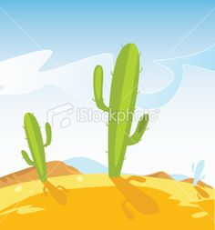Western Mexico desert with Cactus plants Royalty Free Stock Vector Art Illustration